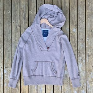 American Eagle Button Neck Pullover Hoodie, Size L